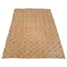 19th Century American Wool Coverlet in Cinnamon, Camel, and Dark Gray