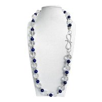 Lovely Lapis, Rock Crystal, and Sterling Necklace with Hand Forged Sterling Clasp