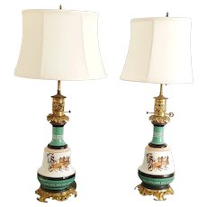 Splendid Pair of Old Grecian Style Vase Lamps with Gilded bases