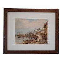 Henry Walter Sweet Watercolor Harbour Scene