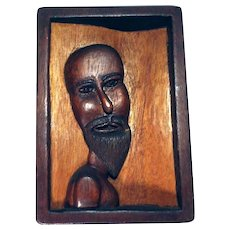 Hand Carved Wooden Plaque 1971
