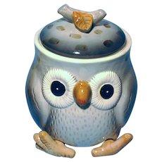 Vintage 1970's Owl Ceramic Cookie Jar Japan