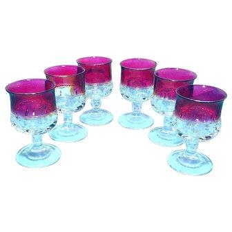 Six Ruby Flash Thumbprint Wine Glasses Tiffin