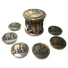 Hand Carved Mahogany African Elephant Coaster Set