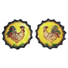 Two Vintage 1960's Marston of California Rooster Ceramic Wall Pockets