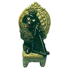 Vintage 1950's Black Poodle With Harp Ceramic Figurine