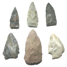 Six Genuine American Indian Arrowheads Connecticut