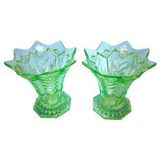 Two Vintage Art Deco Green Glass Footed Vases English