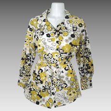 Vintage 1970's Women's Size 36 Belted Long Sleeve Floral Blouse