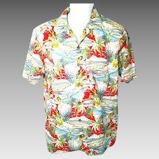 Vintage Men's Medium Tommy Bahama Hawaiian Holiday Shirt