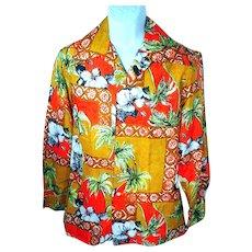 1970's Hawaiian Polyester Long Sleeve Men's Shirt (Large)