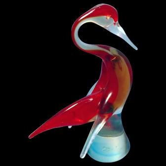 Vintage Glass Mid-Century Bird Figurine