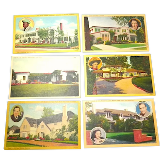 1954 Hollywood Homes of Famous Actors Postcards Six