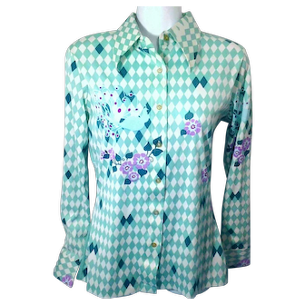 1970's Small Women's Polyester Stretch Long Sleeve Top