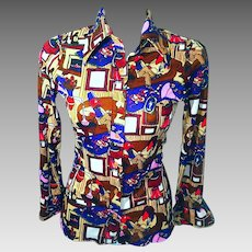 1970's Petite Polyester Women's Long Sleeve Stretch Blouse