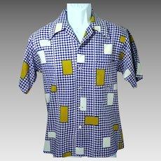 1970's Men's Medium Polyester Button Front Short Sleeve Shirt