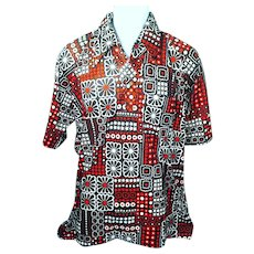 1970's Men's Extra Large Polyester Short Sleeve Pullover Shirt