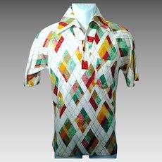 1970's Men's Medium Polyester Short Sleeve Shirt