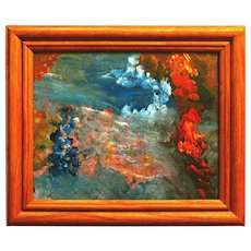 """Untitled Abstract Seascape II (original psychedelic ocean painting, acrylic on canvas paper, 8x10"""" in 10.4x12.2"""" wooden frame)"""
