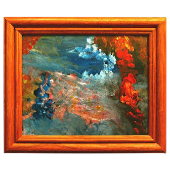 "Untitled Abstract Seascape II (original psychedelic ocean painting, acrylic on canvas paper, 8x10"" in 10.4x12.2"" wooden frame)"