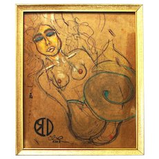 """Mermaid (original nude drawing, mixed media on upcycled cardboard, 8x10"""" in 8.5x11"""" frame)"""