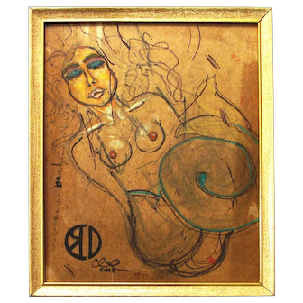"Mermaid (original nude drawing, mixed media on upcycled cardboard, 8x10"" in 8.5x11"" frame)"