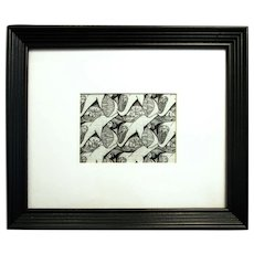 """Dolphins (original repeating ocean motif drawing, ink on graph paper, 5x7"""" in 13x16"""" wooden frame)"""