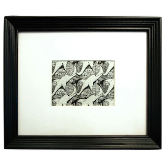 "Dolphins (original repeating ocean motif drawing, ink on graph paper, 5x7"" in 13x16"" wooden frame)"