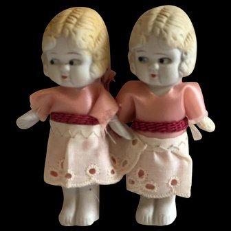 Sweet Pair All Bisque Twins Measuring 3 inches