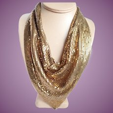 Vintage Whiting and Davis Liquid Gold Mesh Necklace/Bib/Scarf