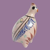 Vintage Mexican Handpainted Pottery Quail Figurine