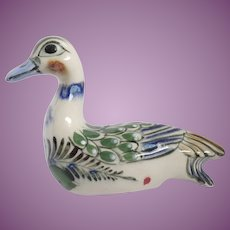 Vintage Tonala Mexican Pottery Duck Signed Reyna