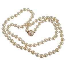 Vintage Trifari Opera Strand of Pearls Necklace Simulated
