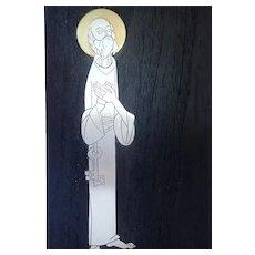"Vintage Talleres Monasticos Plaque ""Peter"" Sterling Silver on Ebony Wood"