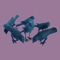 Vintage Flock Of Six Table Top Metal Birds