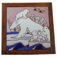 """Vintage Italy Trivet Tile Mama Polar Bear and Cubs 9 1/2"""" x 9 1/2"""""""