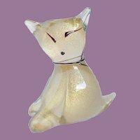 Vintage Alfredo Barbini Murano Gold Flecks Italian Art Glass Kitty Cat Sculpture Figure
