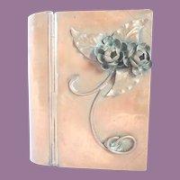 Vintage Gregorian Copper Bible/Keepsake Box Arts & Crafts With 3-D Flower Design