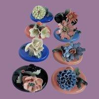 Vintage Porcelain Flower Place Card Holders Set Of Six Japan