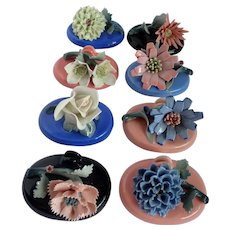 Vintage Porcelain Flower Place Card Holders Set Of Six Japan