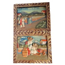 Vintage Set Of Two Mexican Bas Relief Village Scenes Carvings
