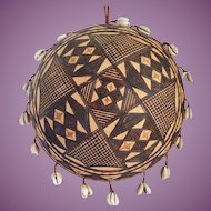 Vintage African Carved Calabash Gourd Drum Shaker With Cowrie Shells