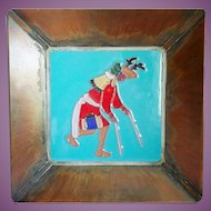 Vintage DHC Heavy Copper Tray With Tile Native American Dancer Design