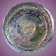 """Vintage Mixed Metal Tray Silver Plate Over Copper 12"""" Egyptian Revival"""