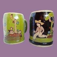 Vintage Pair Of Tlaquepaque Pottery Mexico Mugs Tankards