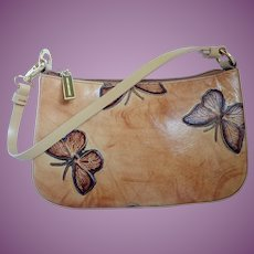 Mario Hernandez Designer Embossed Butterflies Leather Handbag