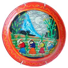 Vintage Mexican Hand Painted Story Telling Folk Art Plate