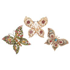 Vintage Bevy Of Butterfly Collection Pins/Brooches