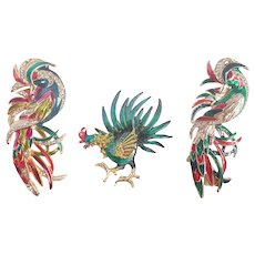 Vintage Birds Of Feathers Flocking Together Enamel & Rhinestones Pins/Brooches