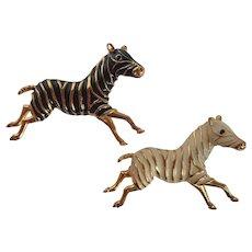 Vintage Enamel Zebra Pins/Brooches Wild and Wonderful!